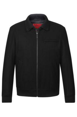 'Belvor' | Virgin Wool Blend Bomber Jacket, Black