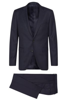 Windowpane Italian Super 120 Virgin Wool Suit, Slim Fit | Novan/Ben, Dark Blue