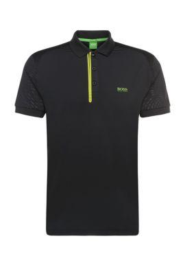 'Pavotech' | Slim Fit, Stretch Techno Jersey Polo Shirt, Black
