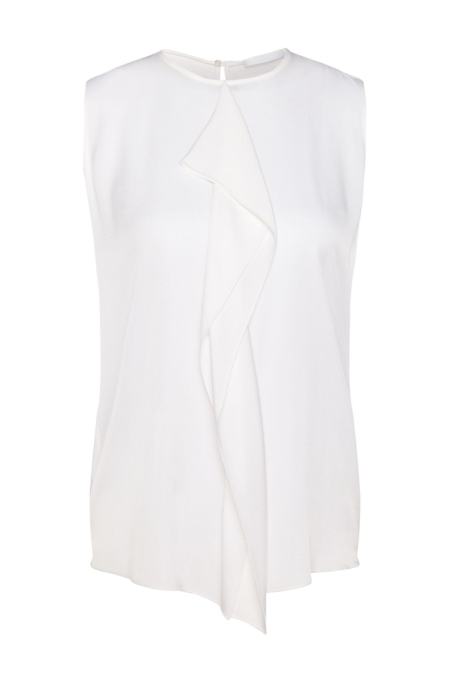 'Ifania' | Stretch Silk Ruffle Front Blouse