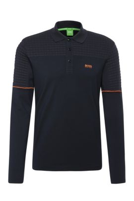 'Pilsy' | Modern Fit, Stretch Cotton Quilted Polo Shirt, Dark Blue