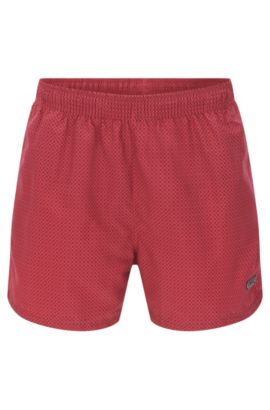 'Kingfish' | Quick Dry Patterned Swim Trunks, Open Red