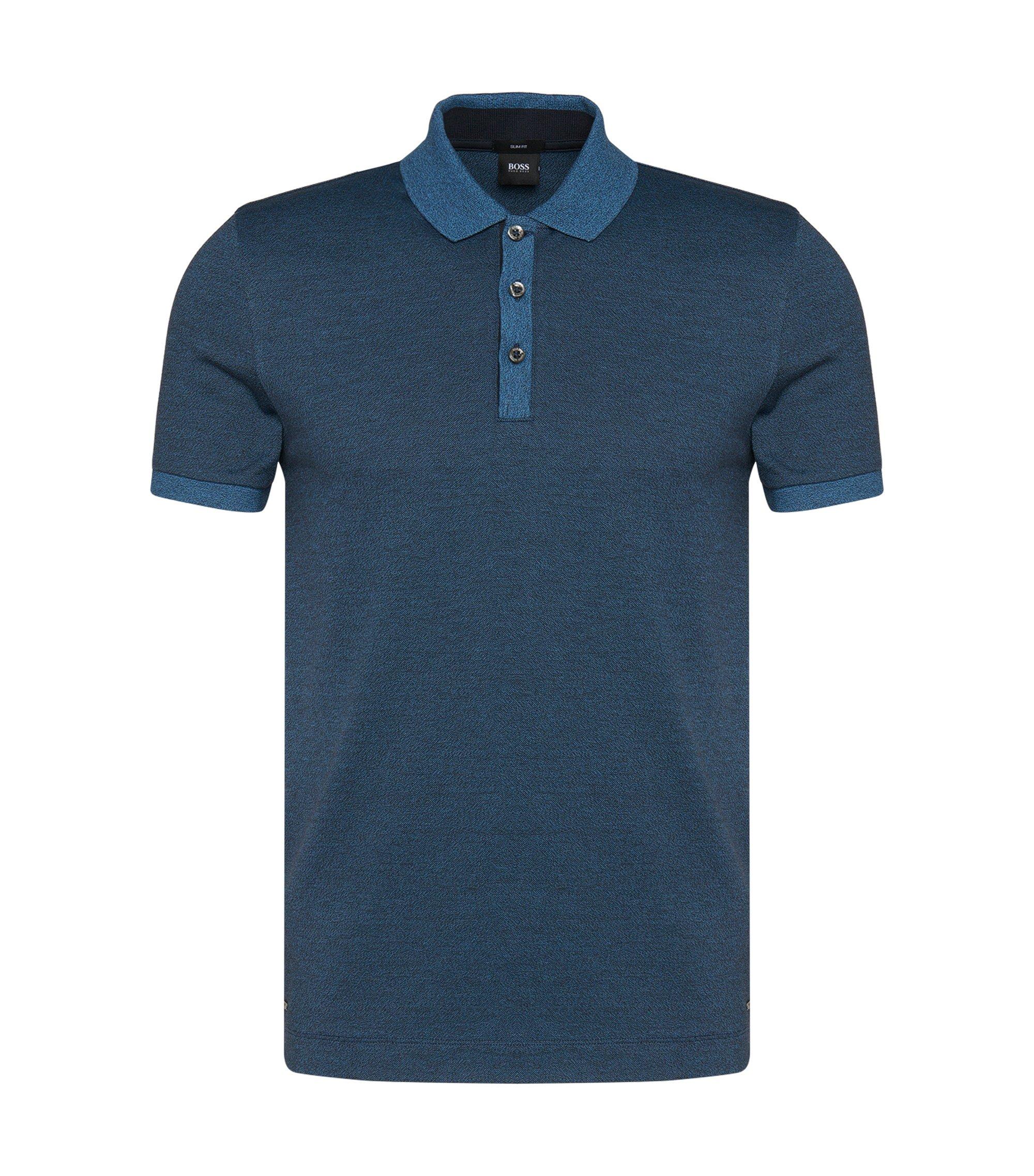 Cotton Moluine Melange Polo Shirt, Slim Fit | Phillipson, Dark Blue