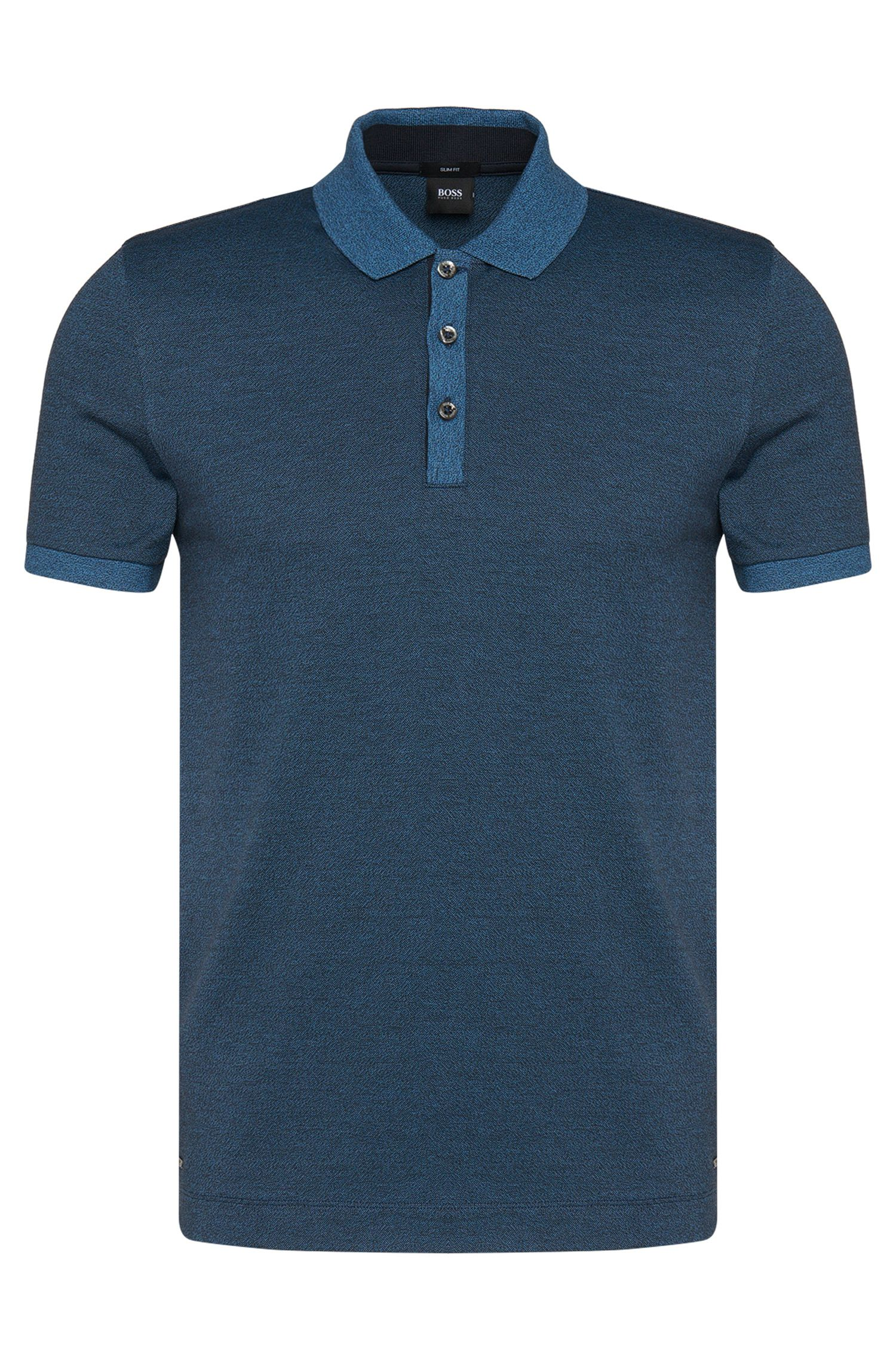 Cotton Moluine Melange Polo Shirt, Slim Fit | Phillipson
