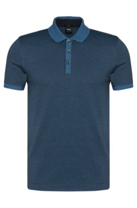 Cotton Moluine Melange Polo Shirt, Slim Fit | Phillipson, Dark Blue