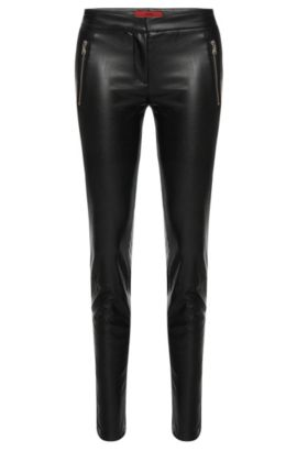 'Heidina'   Vegan Leather Pants, Black