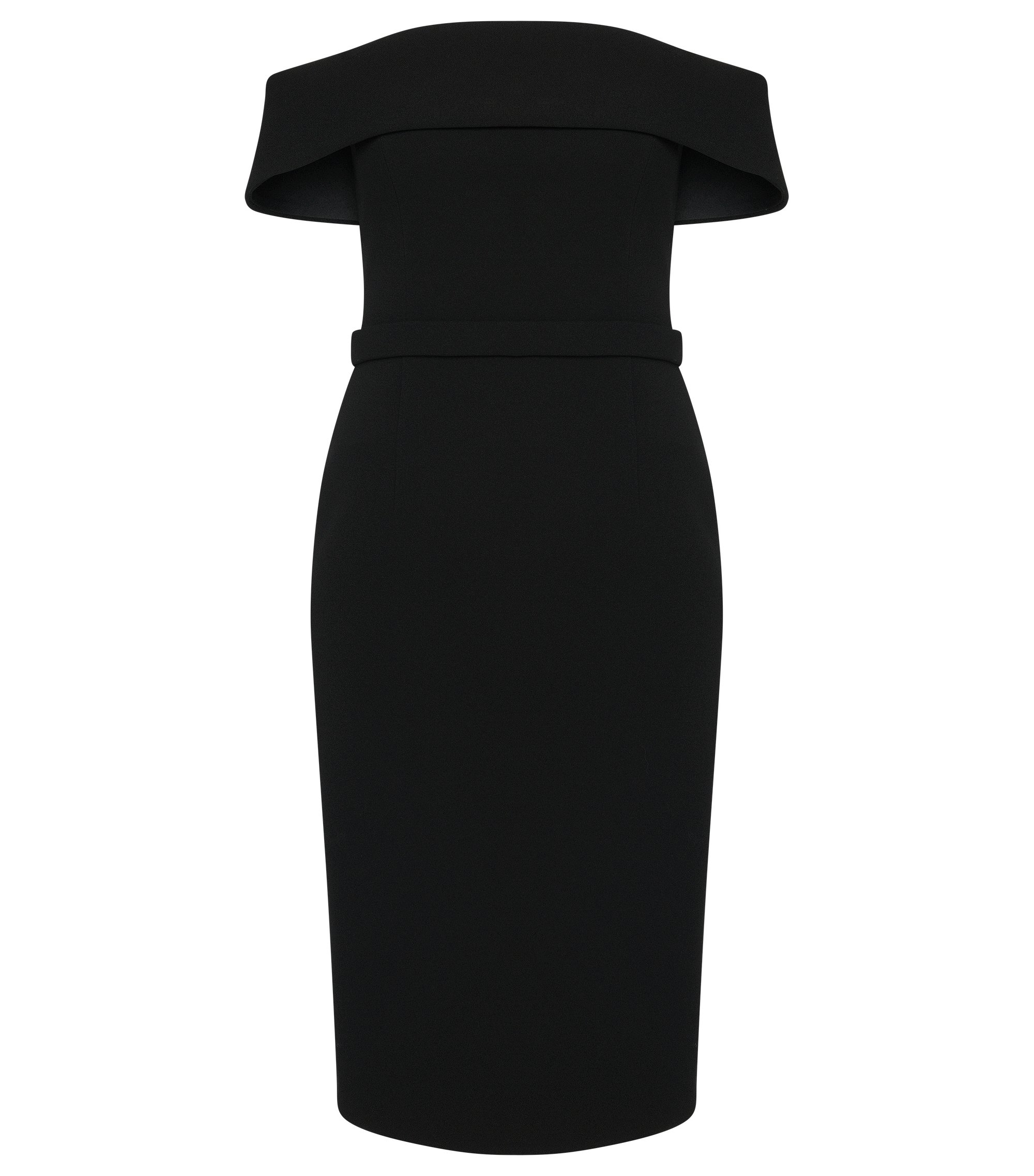 Bonded Crepe Off-The-Shoulder Column Dress | Diany, Black