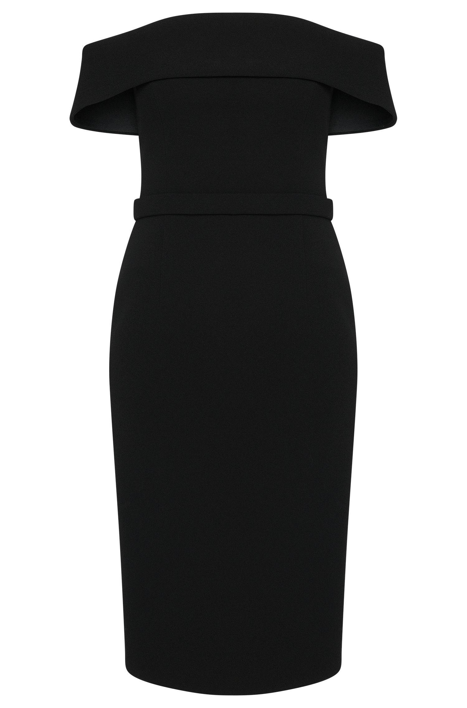 Bonded Crepe Off-The-Shoulder Column Dress | Diany