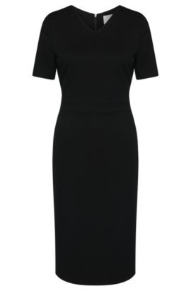 'Helala' | Stretch Viscose Textured Sheath Dress, Black