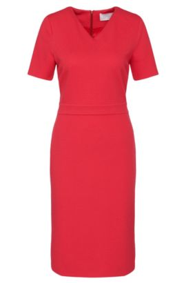'Helala' | Stretch Viscose Textured Sheath Dress, Dark pink
