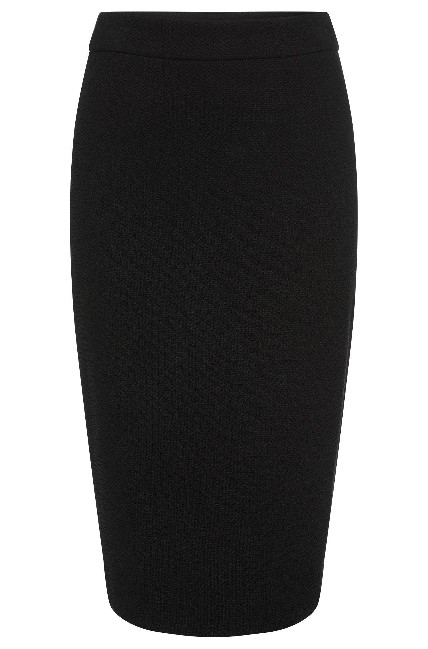 Stretch Viscose Textured Pencil Skirt | Melala