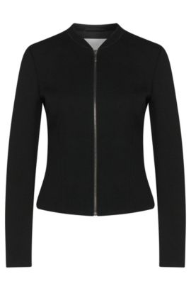 'Kelala' | Textured Jersey Fitted Blazer, Black