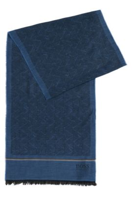 'Canio' | Cotton Modal Blend Geo Patterned Scarf, Open Blue