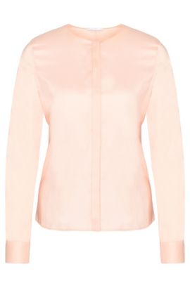 'Binana' | Cotton Blend Tie Waist Poplin Blouse, light pink