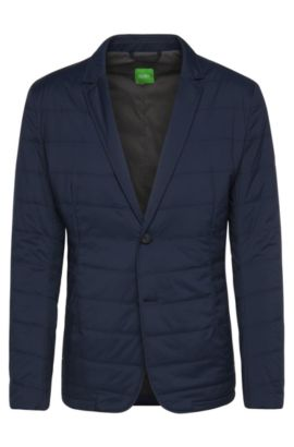 'Asonto' | Slim Fit, Stretch Nylon Quilted Jacket, Dark Blue
