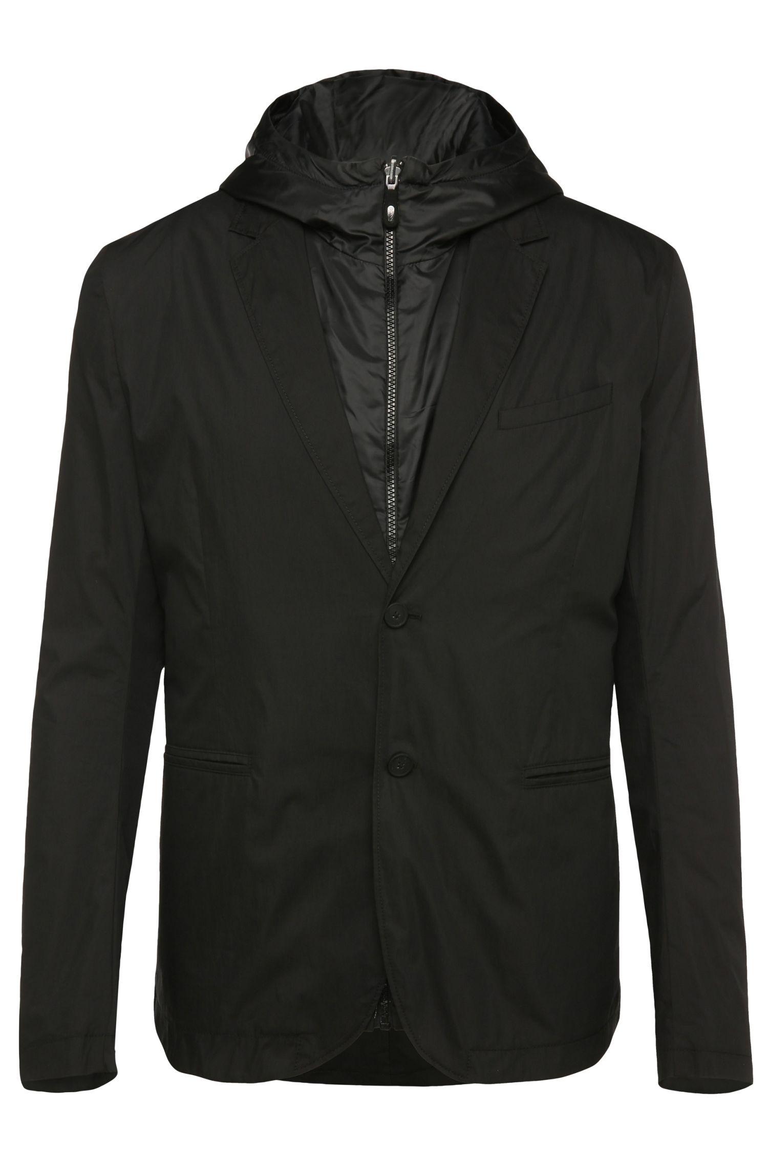 'Awond' | Regular Fit, Cotton Blend Sport Coat, Removable Hooded Vest