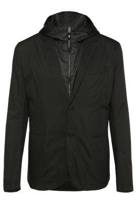 'Awond' | Regular Fit, Cotton Blend Sport Coat, Removable Hooded Vest, Black