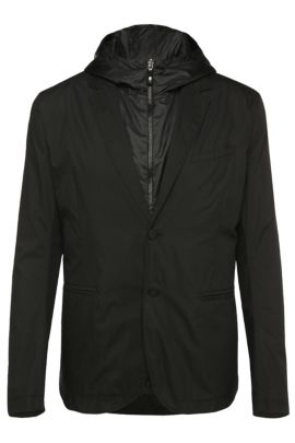 'Awond' | Regular Fit, Cotton Blend Sport Coat, Removable Hooded Vest, Black
