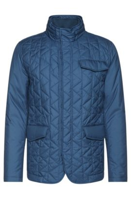 'Cadell' | Quilted Water Repellent Concealed Hood Jacket, Open Blue