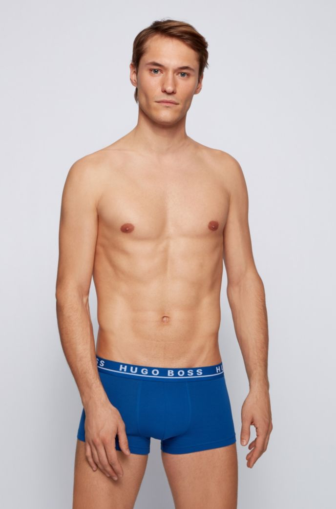 Triple pack of trunks in stretch cotton