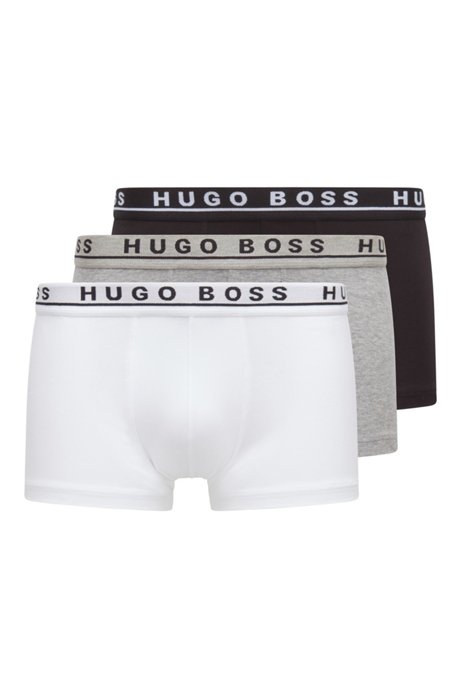 Triple pack of trunks in stretch cotton , Assorted-Pre-Pack