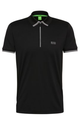 'Philix' | Modern Fit, Cotton Blend Contrast Stripe Polo, Black