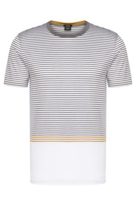 'Tessler' | Mercerized Cotton Striped T-Shirt, White