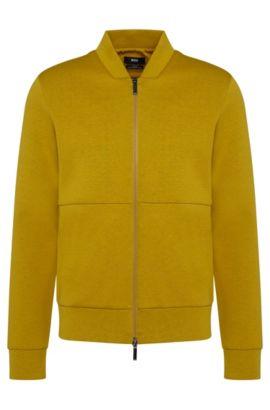 Italian Cotton Blend Scuba Sweatshirt Jacket | Salea, Green