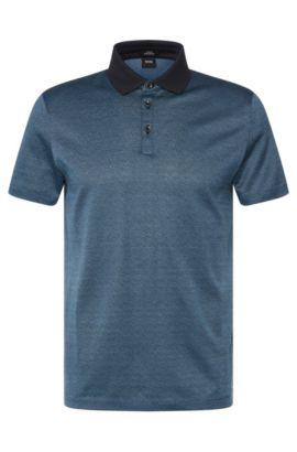 'Platt' | Slim Fit, Mercerized Cotton Jacquard Polo, Dark Blue
