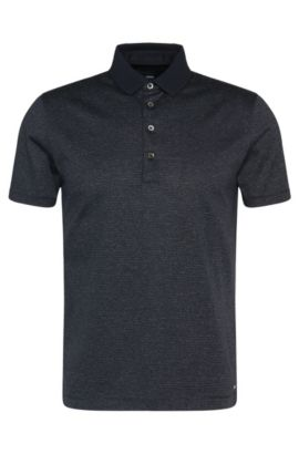 'Pitton' | Slim Fit, Mercerized Cotton Polo Shirt, Dark Blue