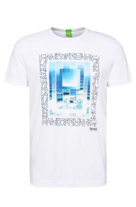 'Tee 5' | Cotton Printed T-Shirt, White