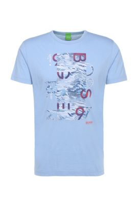'Tee 4' | Cotton Graphic Print T-Shirt, Open Blue