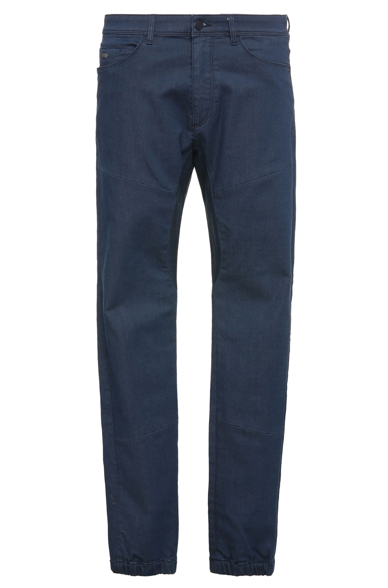 Stretch Cotton Blend Elastic Cuff Jeans, Tapered Fit | Danyel
