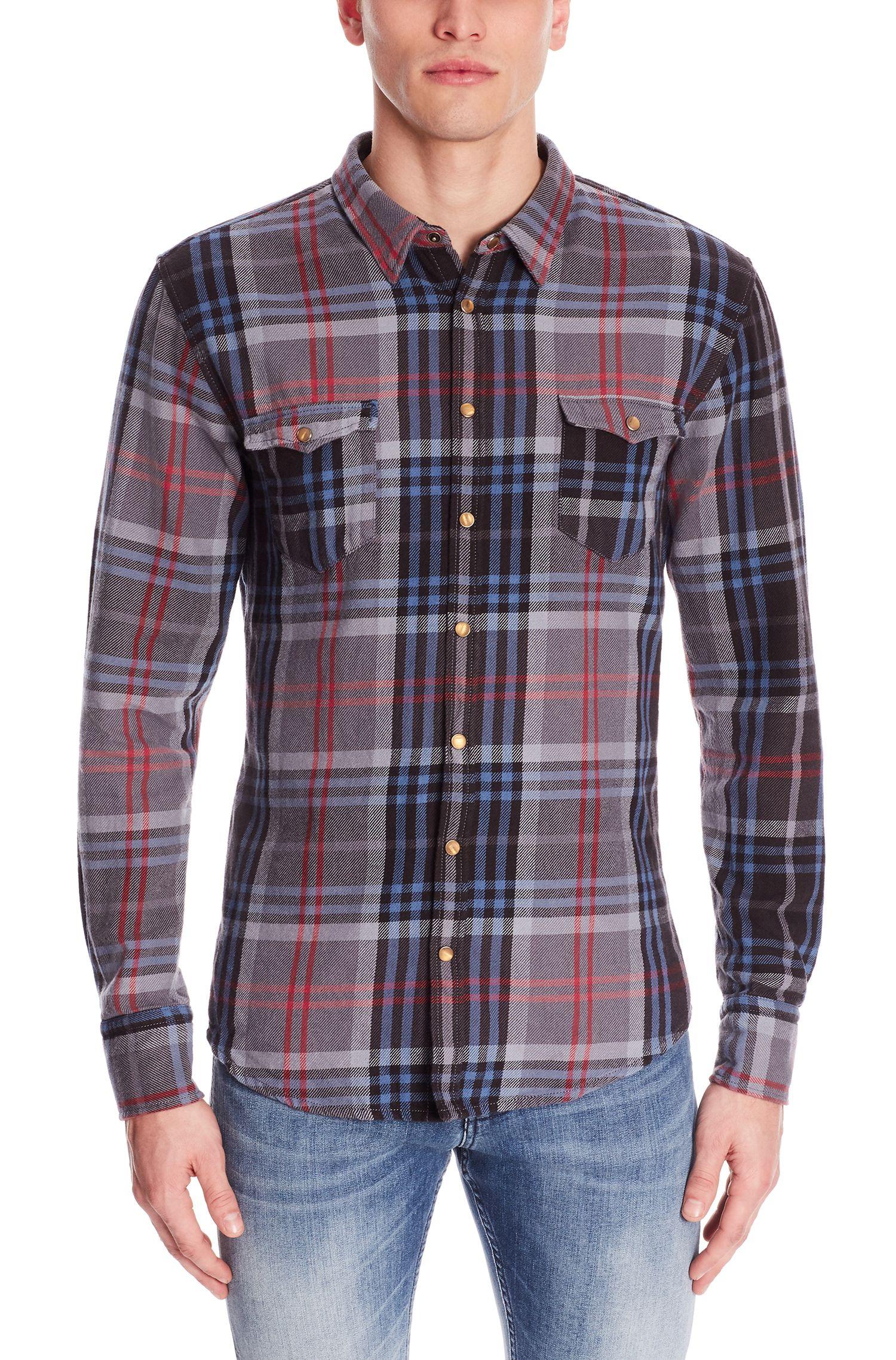 Plaid Cotton Button Down Shirt, Slim Fit | EdoslimE