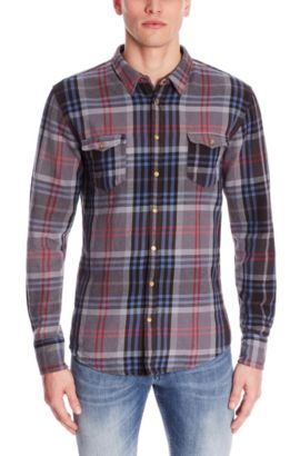 'EdoslimE' | Slim Fit, Plaid Cotton Button Down Shirt, Black