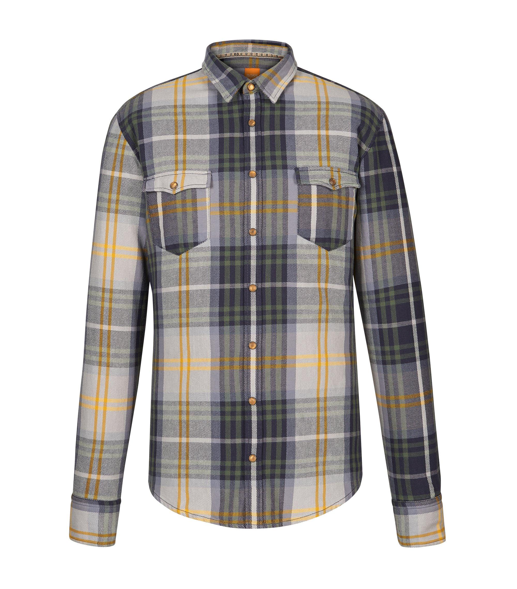 Plaid Cotton Button Down Shirt, Slim Fit | EdoslimE, Green
