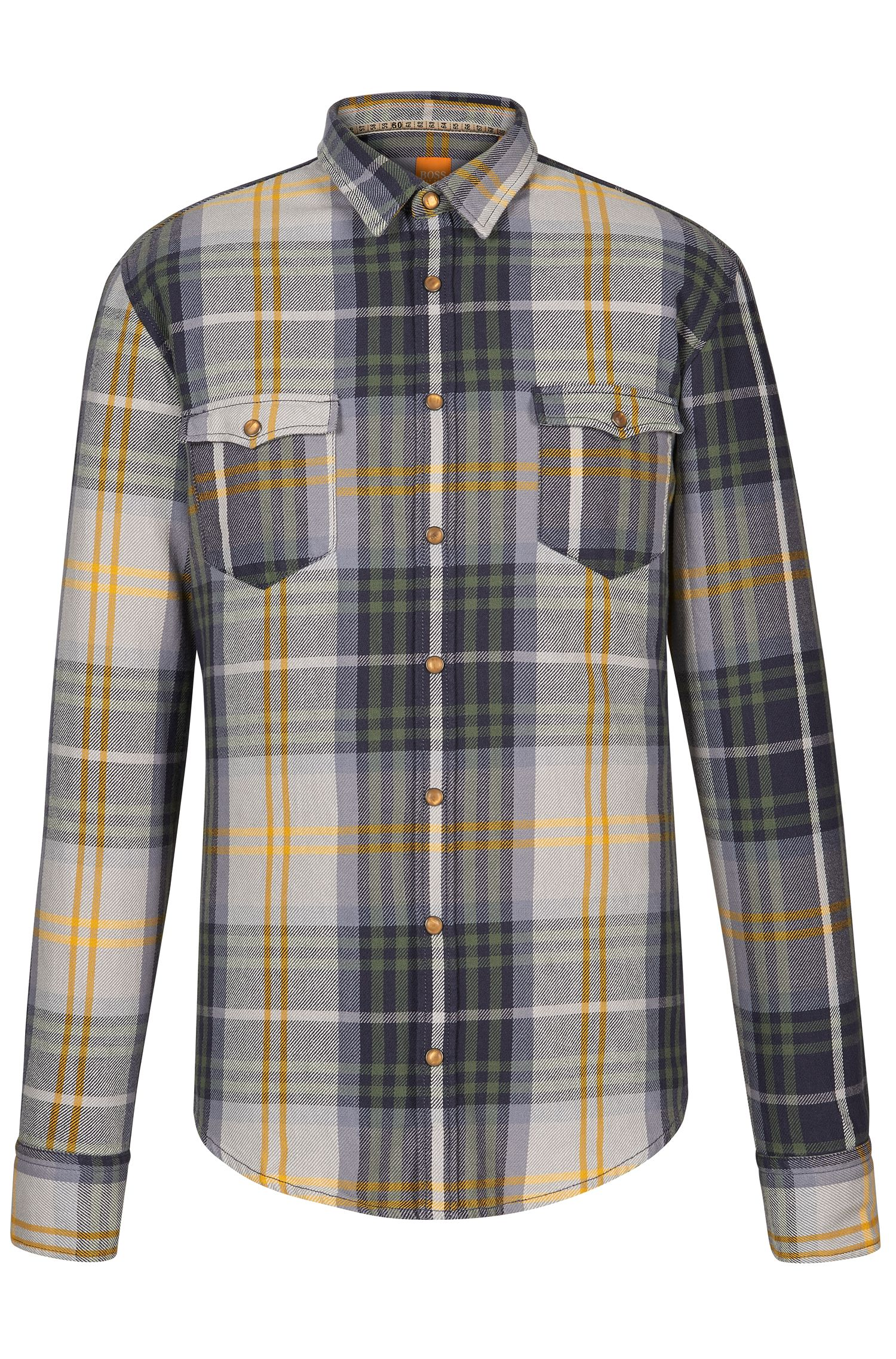 Plaid Cotton Button Down Shirt, Slim Fit   EdoslimE