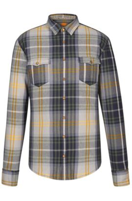 'EdoslimE' | Slim Fit, Plaid Cotton Button Down Shirt, Green