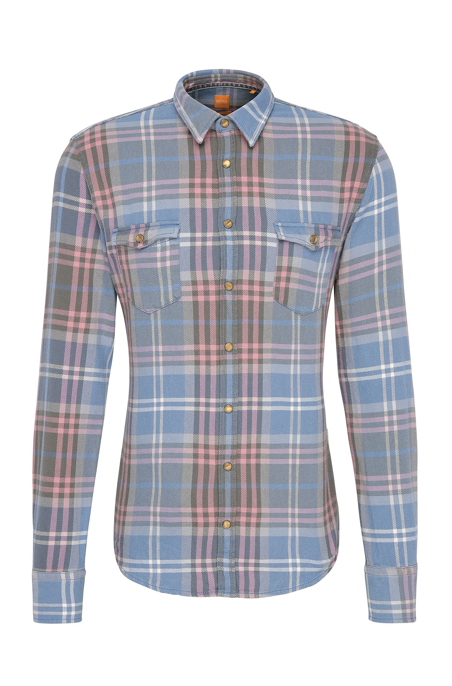 Plaid Cotton Button Down Shirt, Slim Fit | EdoslimE, Open Blue