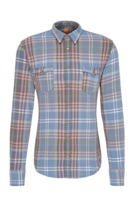 'EdoslimE' | Slim Fit, Plaid Cotton Button Down Shirt, Open Blue
