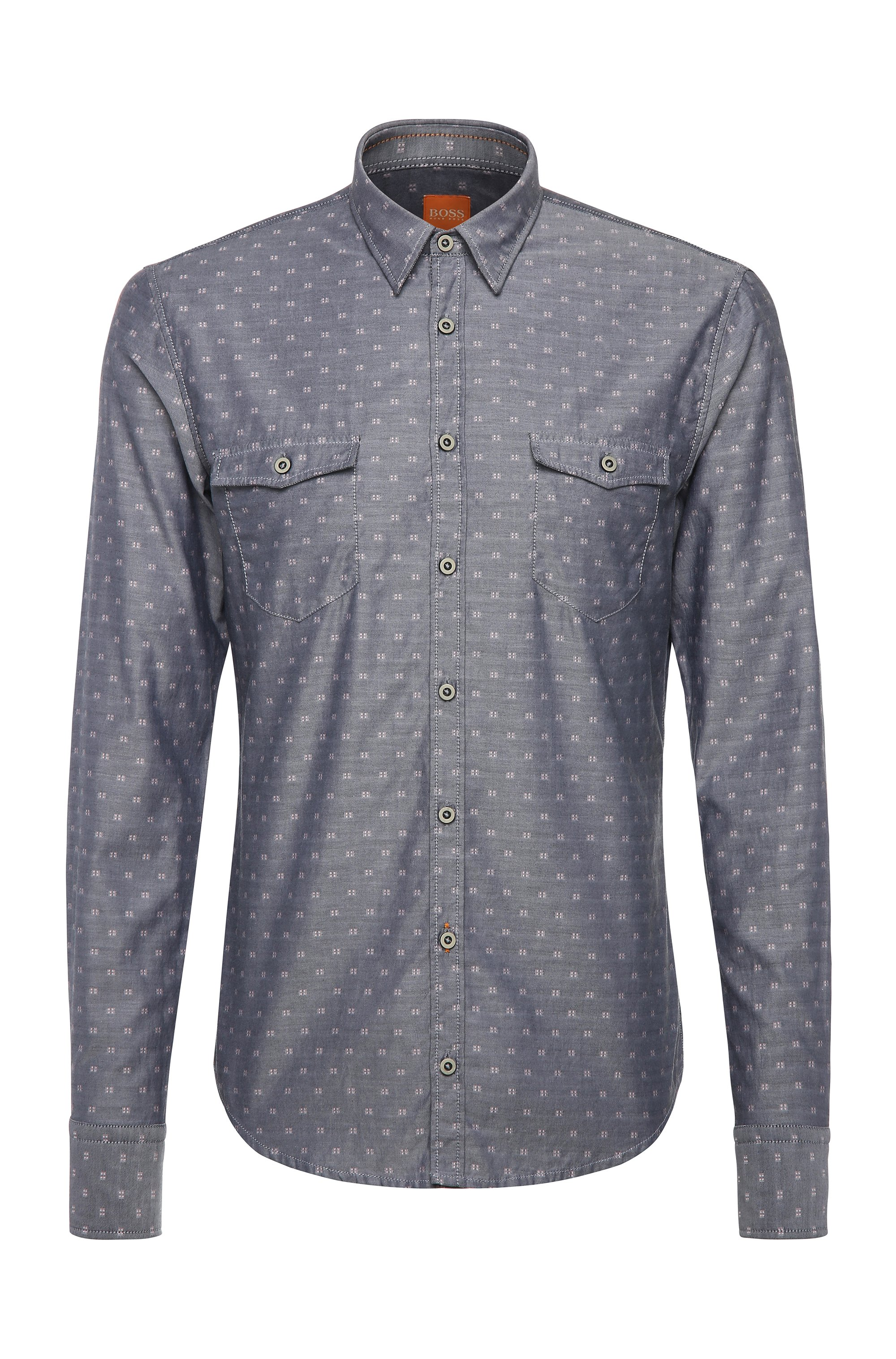 Cotton Button Down Shirt, Slim Fit | EdoslimE, Light Grey