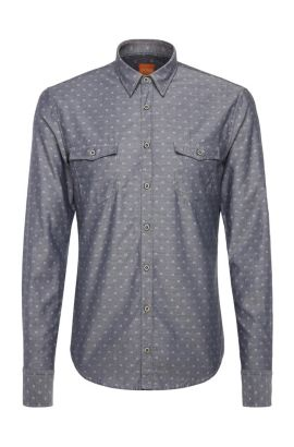 'EdoslimE' | Slim Fit, Cotton Button Down Shirt, Light Grey