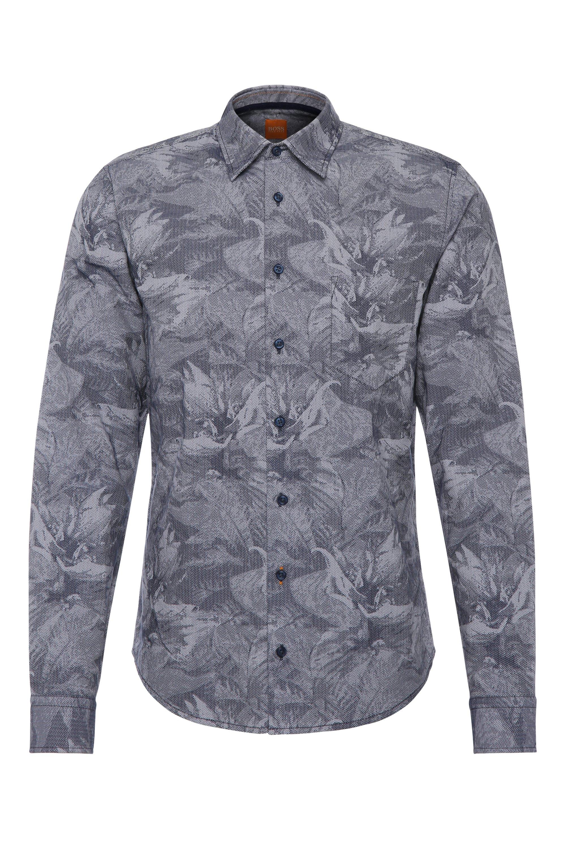 'EnameE' | Slim Fit, Cotton Printed Button Down Shirt, Dark Blue
