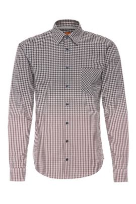 'EnameE' | Slim Fit, Cotton Ombre Printed Button Down Shirt, light pink