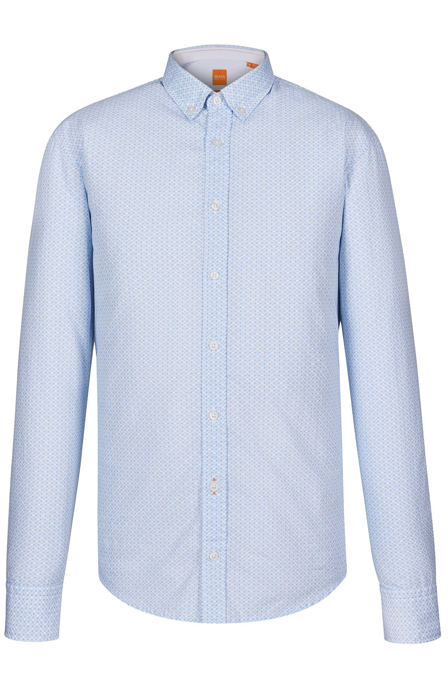 Cotton Button Down Shirt, Slim Fit | EdipoE, Light Blue
