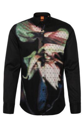 'EdipoE' | Slim Fit, Cotton Button Down Shirt, Black