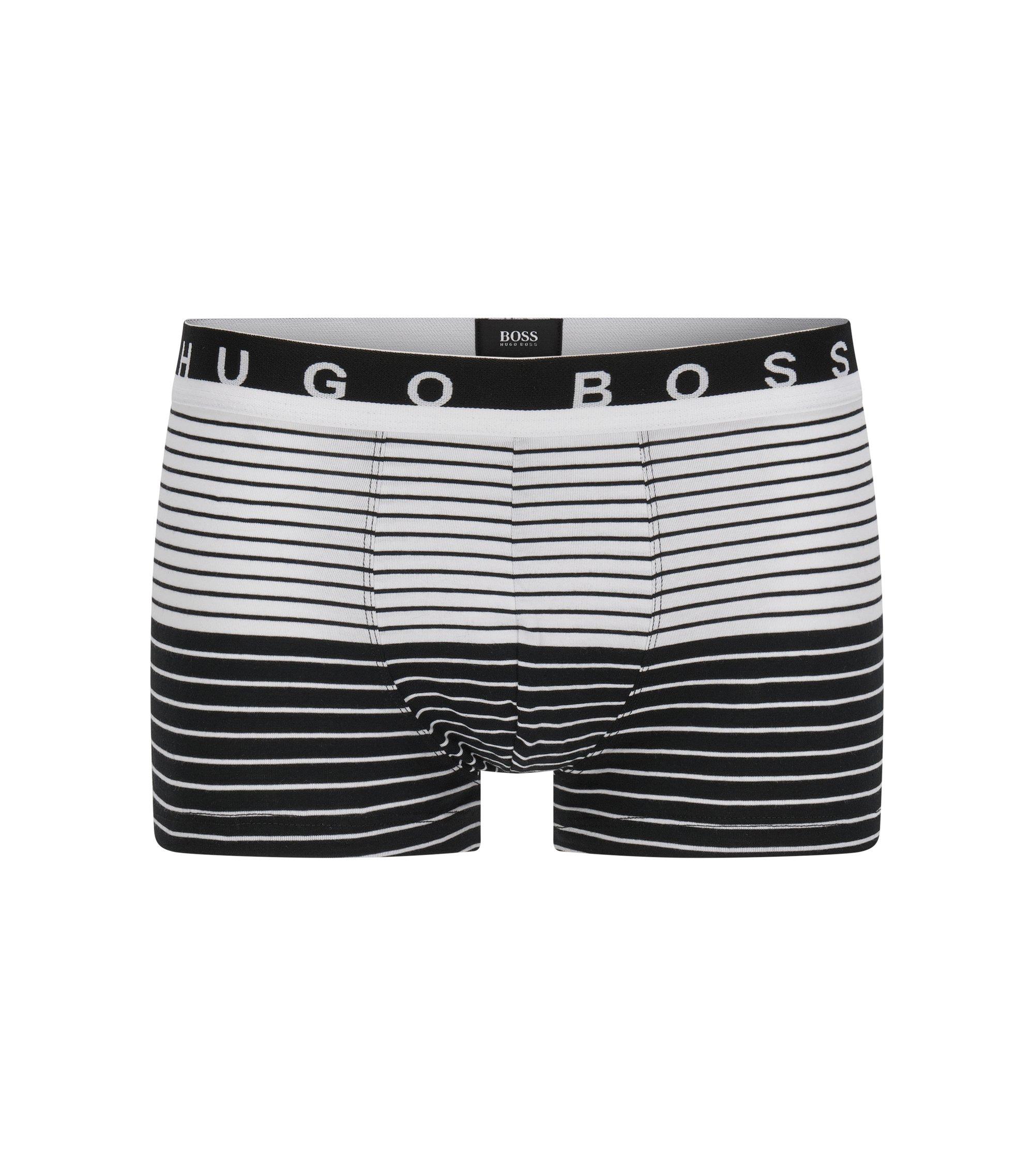 Regular-rise boxer briefs in stretch cotton jersey, Black