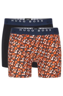 'Boxer Brief 2P Print' | Stretch Cotton Boxer Briefs, 2-Pack, Open Orange
