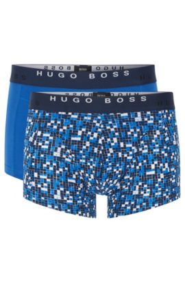 'Trunk 2P Print' | Stretch Cotton Trunks, 2-Pak, Open Blue