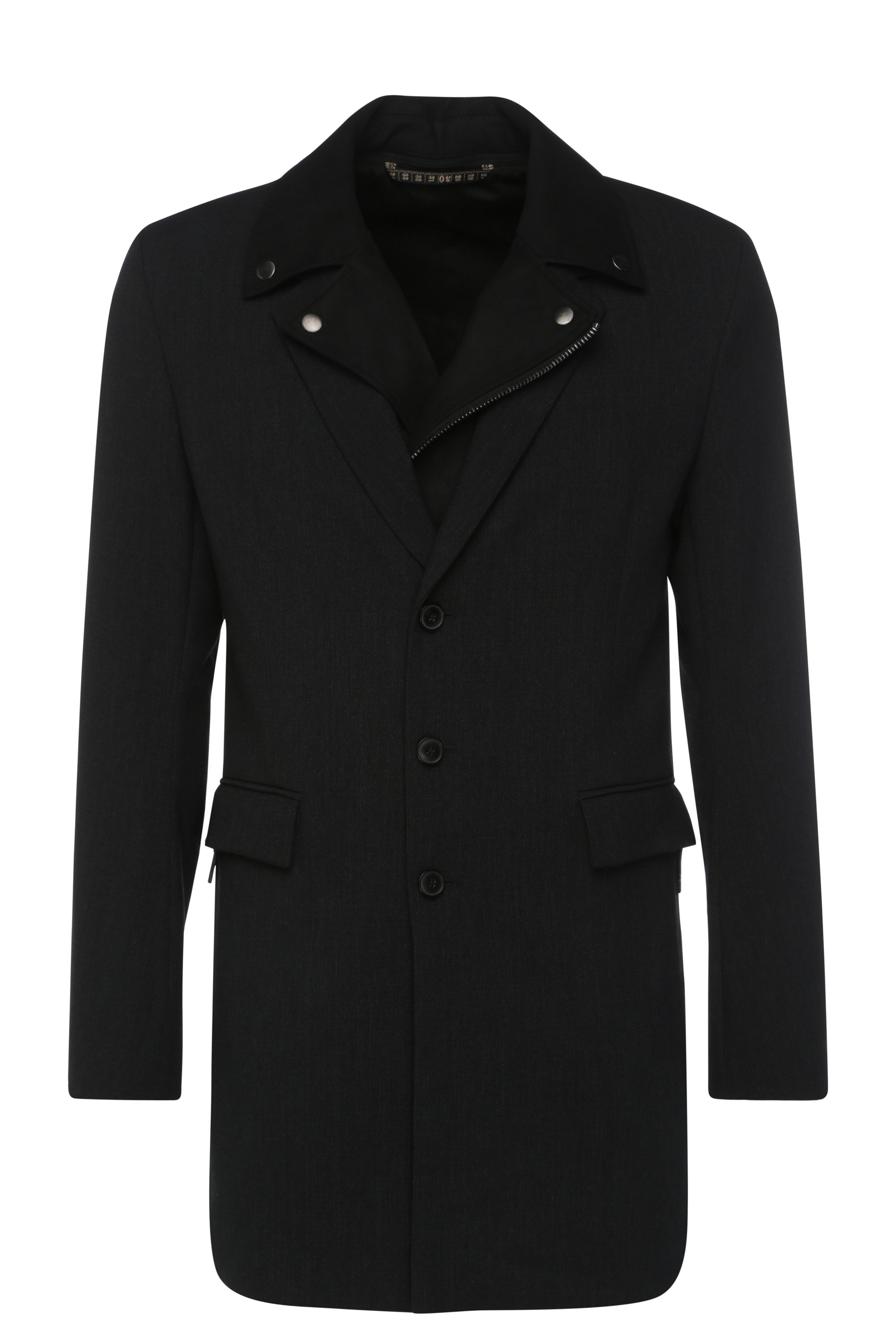 Removable Bibbed Jacquard Car Coat | Bassam, Black